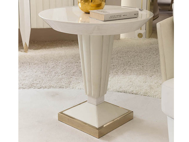Lacquered round wooden coffee table ORION | Round coffee table by Turri