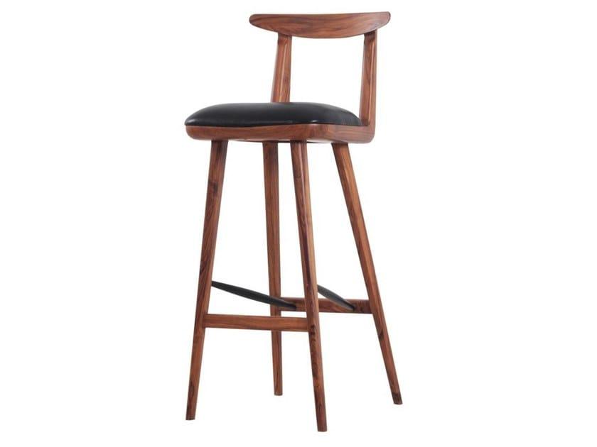 Teak stool with integrated cushion ORIQ | Teak stool by ALANKARAM