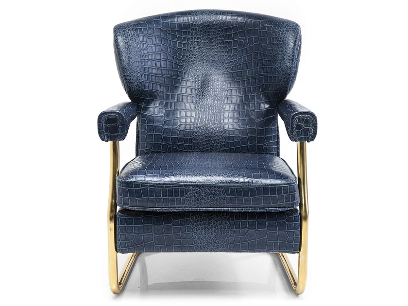 Leather armchair with armrests ORLANDO CROCO by KARE-DESIGN