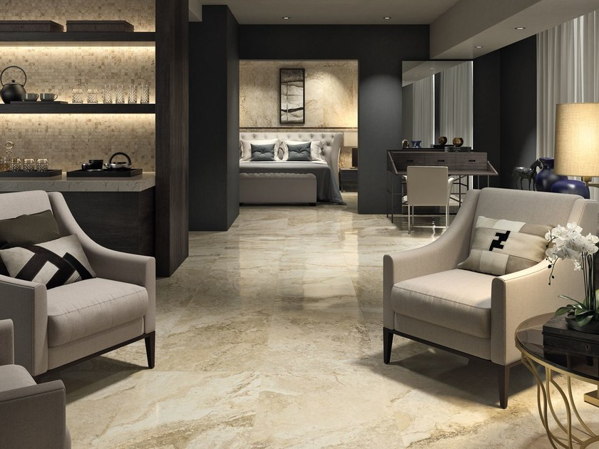 Porcelain stoneware flooring with marble effect ORO BIANCO | Flooring by Ceramica d'Imola