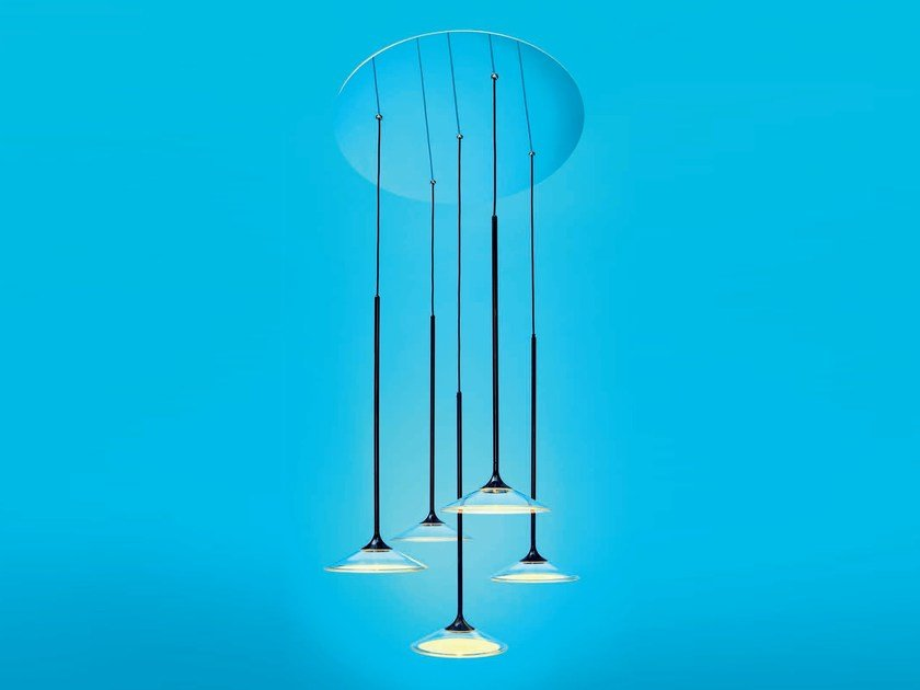 LED direct light methacrylate pendant lamp ORSA by Artemide