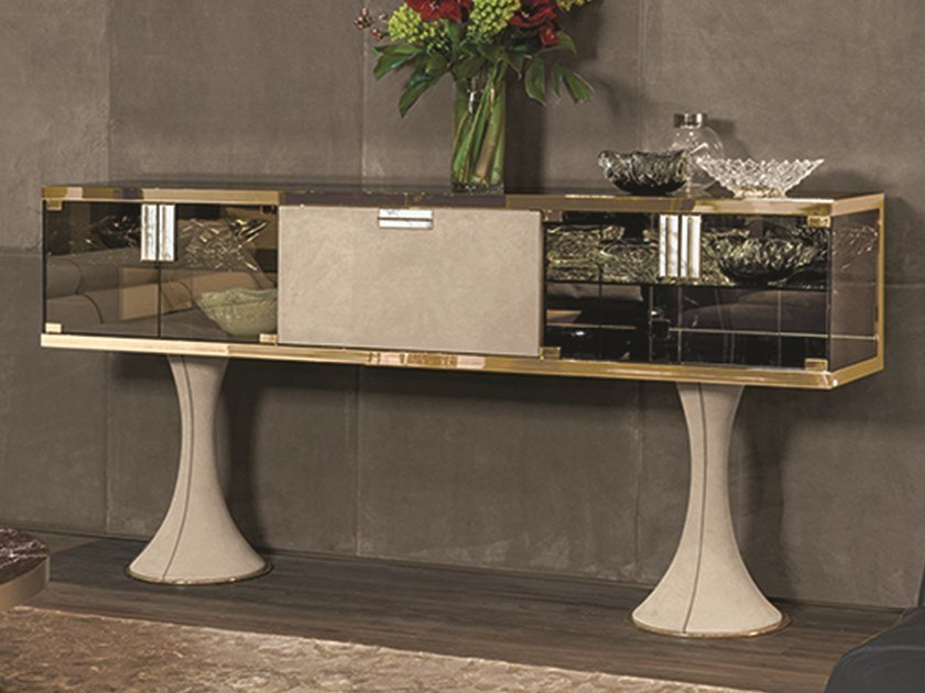 Glass sideboard with doors OSCAR | Glass sideboard by Longhi