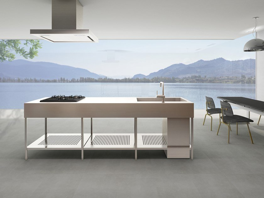Stainless steel kitchen with island without handles OSSO by sanwacompany