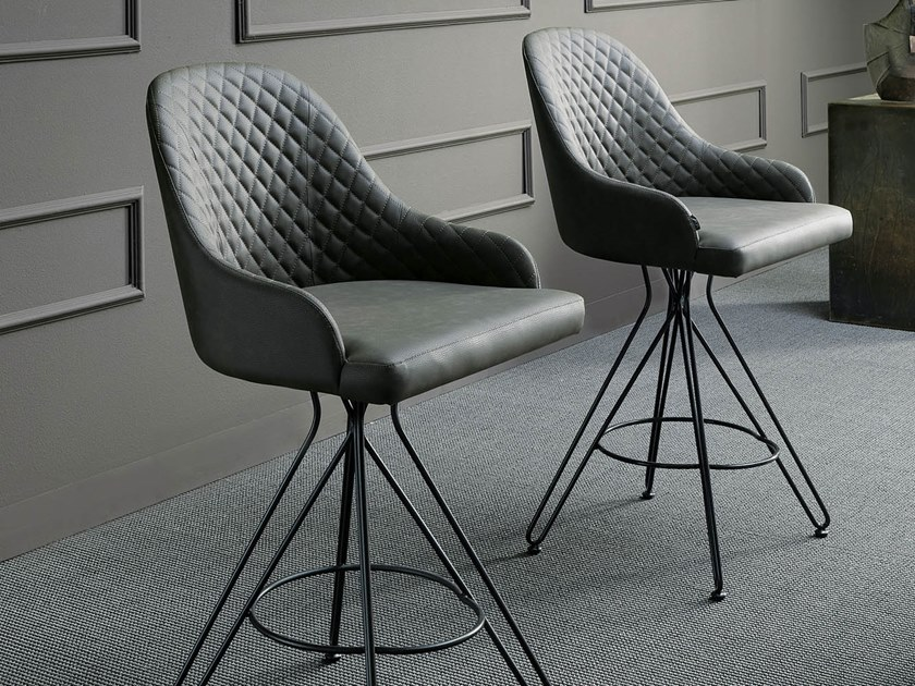 High upholstered leather stool OTELLO by Ozzio Italia