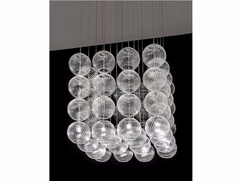 Lampada a sospensione in vetro soffiato OTO SP CUB by Vetreria Vistosi