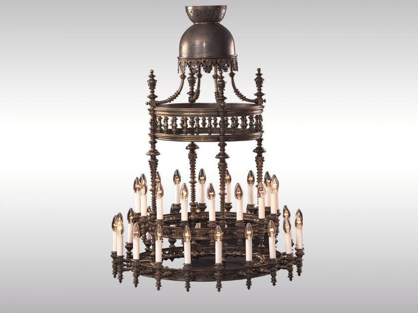 Classic style bronze chandelier OTTO WAGNER LUSTER by Woka Lamps Vienna