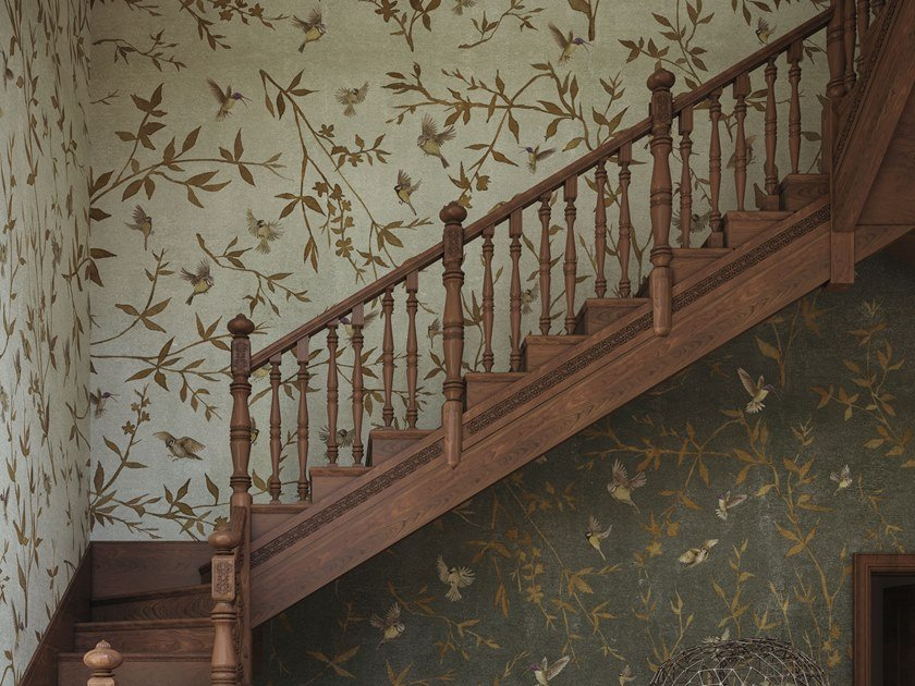 Waterproof glass-fibre wallpaper with floral pattern OTTONE GARDEN by Tecnografica