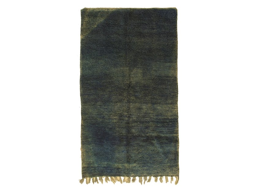 Contemporary style long pile rectangular wool rug OUEDZEM TAA1251BE by AFOLKI