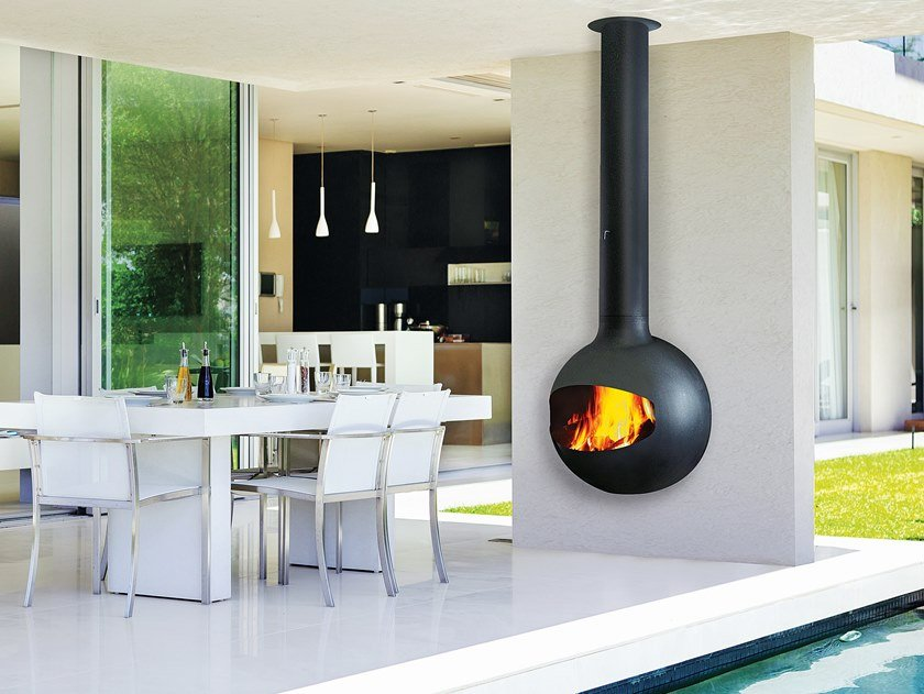Wood-burning outdoor wall-mounted fireplace EMIFOCUS | Outdoor fireplace by Focus creation