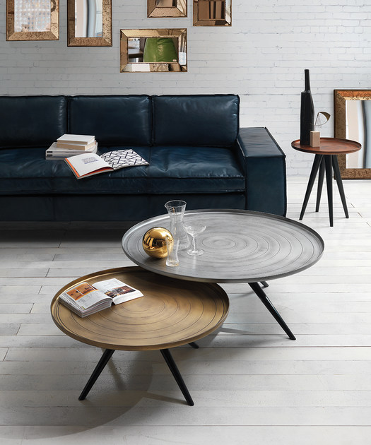 Low round aluminium coffee table OUTLINE Low coffee table Oliver