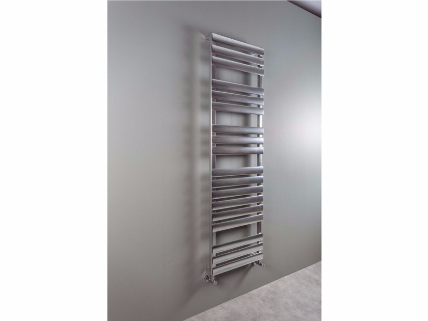 Vertical wall-mounted aluminium towel warmer OV-AL BATH by RIDEA