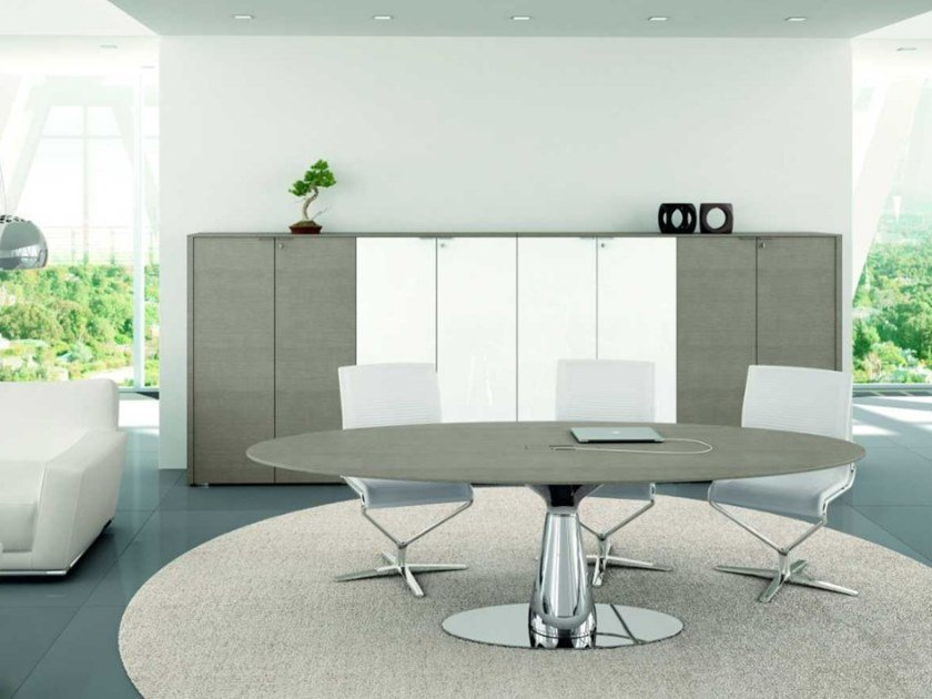 Oak meeting table with cable management METAR   Oval meeting table by Bralco