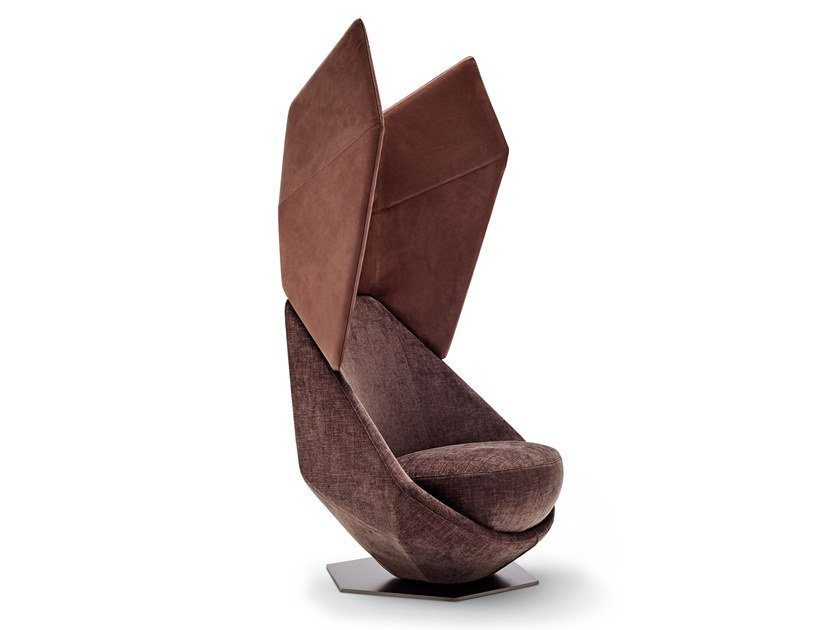 Swivel high-back fabric armchair OVERDRIVE | High-back armchair by Arketipo