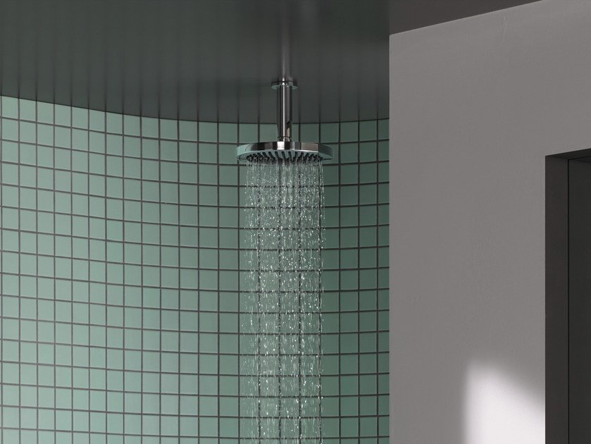Ceiling mounted chromed brass rain shower LISSÉ | Overhead shower by Dornbracht