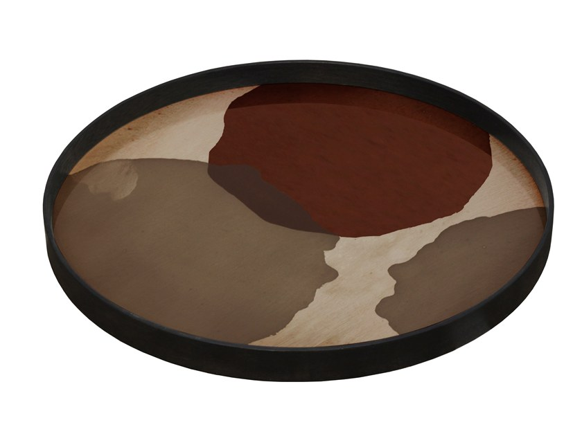 Round glass tray OVERLAPPING DOTS by Notre Monde