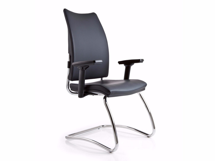 Cantilever leather reception chair with armrests OVERTIME | Leather chair by Luxy