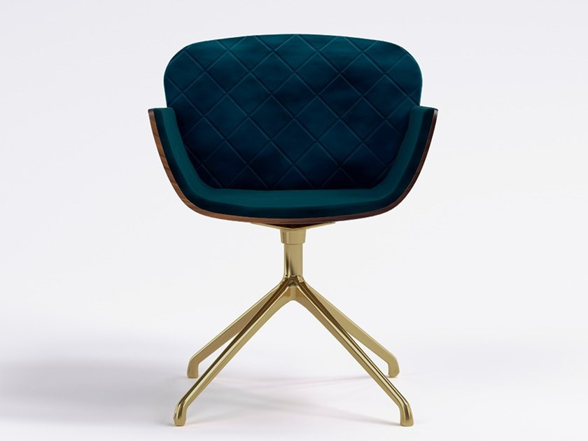 Swivel upholstered velvet chair with 4-spoke base OXFORD by Emotional Projects