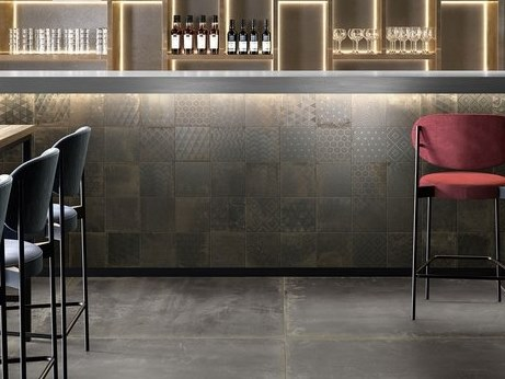 Pavimento/rivestimento in gres porcellanato effetto metallo OXIDART PATCHWORK DARK by CERAMICA SANT'AGOSTINO