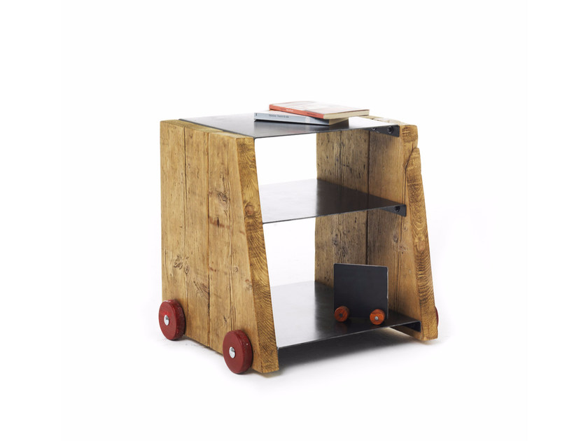 Square spruce bedside table with casters OZ by Vontree