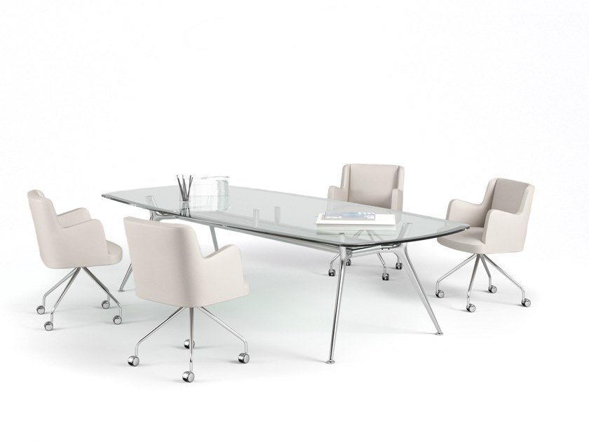 Rectangular glass meeting table P016 | Glass meeting table by ESTEL GROUP