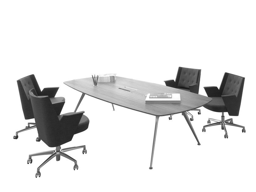 Melamine-faced chipboard meeting table with cable management P016 | Melamine-faced chipboard meeting table by ESTEL GROUP