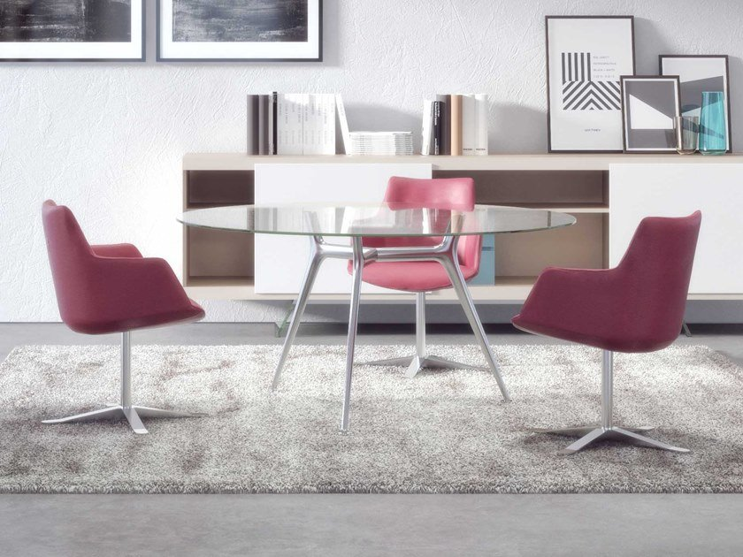 Round glass meeting table P016   Round meeting table by ESTEL GROUP