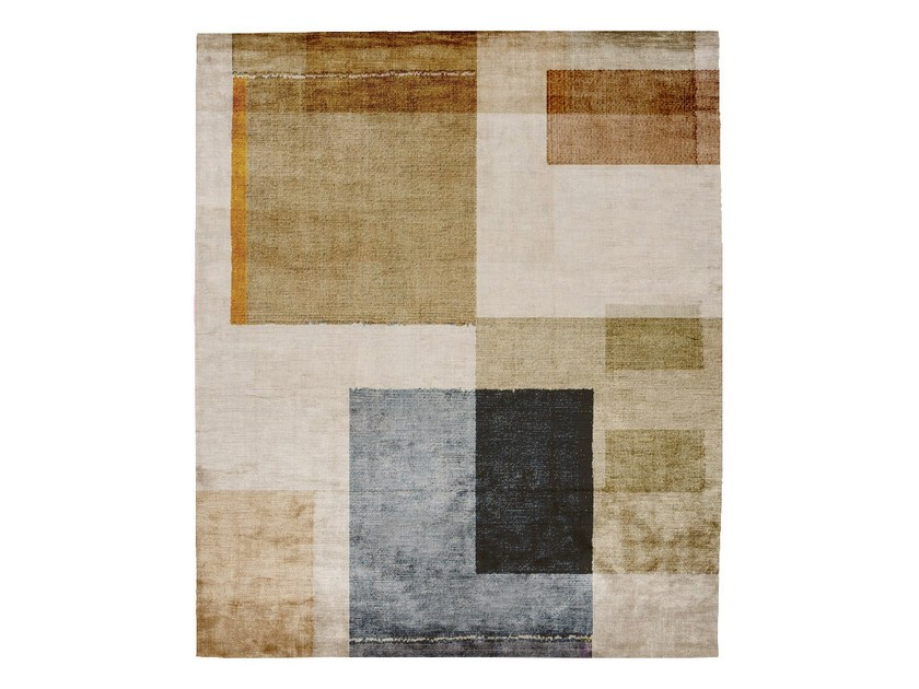 Handmade rectangular silk rug P103 DOPAMINE WADEN PLAZA by HENZEL STUDIO