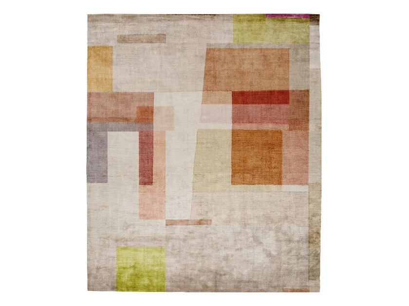 Handmade rectangular silk rug P98 GISELE BAD HABITS by HENZEL STUDIO