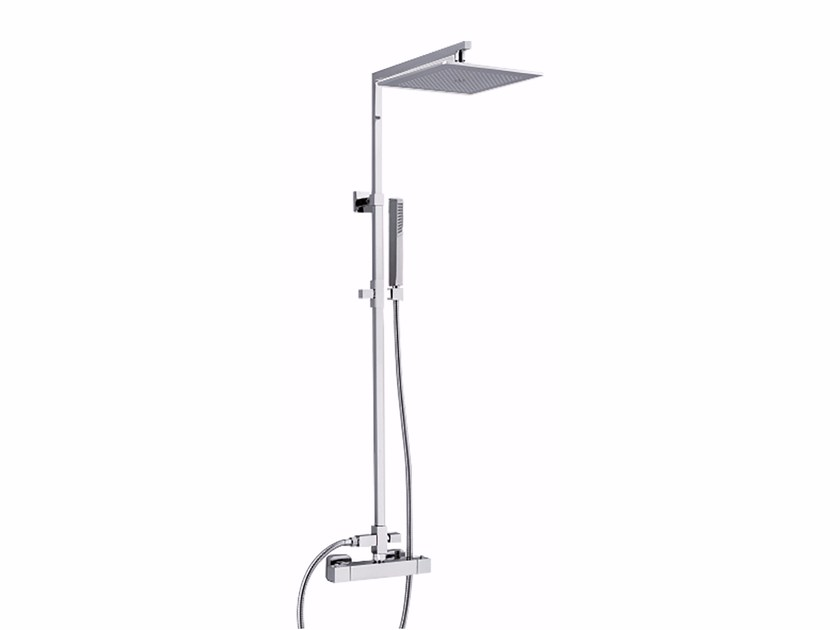 Wall-mounted thermostatic shower panel with overhead shower PABLOLUX - F8300-20 by Rubinetteria Giulini