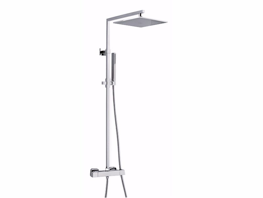 Wall-mounted thermostatic shower panel with overhead shower PABLOLUX - F8301-20 by Rubinetteria Giulini