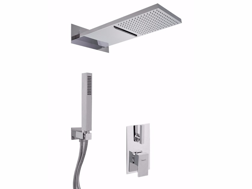 Single handle shower mixer with overhead shower PABLOLUX - F9813-3KS2 by Rubinetteria Giulini