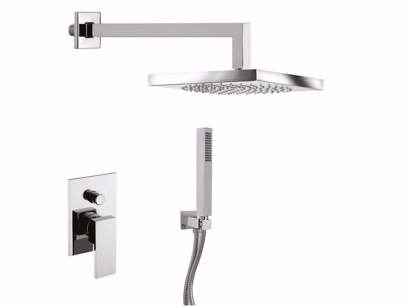 Single handle shower mixer with overhead shower PABLOLUX - F9813KB-25 by Rubinetteria Giulini