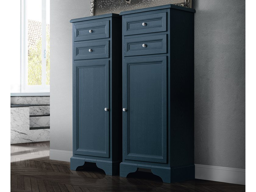 Tall bathroom cabinet with doors PAESTUM 44 by Cerasa
