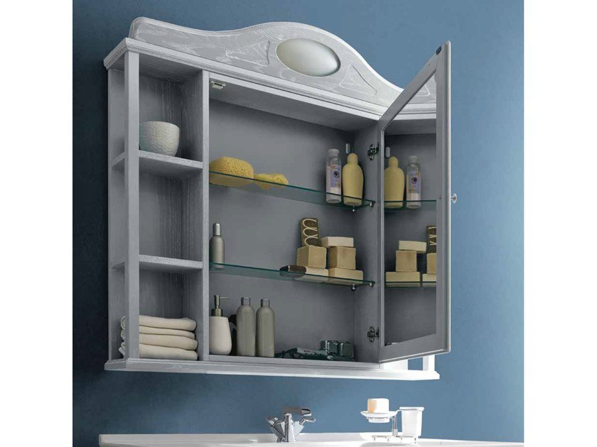 Bathroom mirror with cabinet PAESTUM 60 by Cerasa