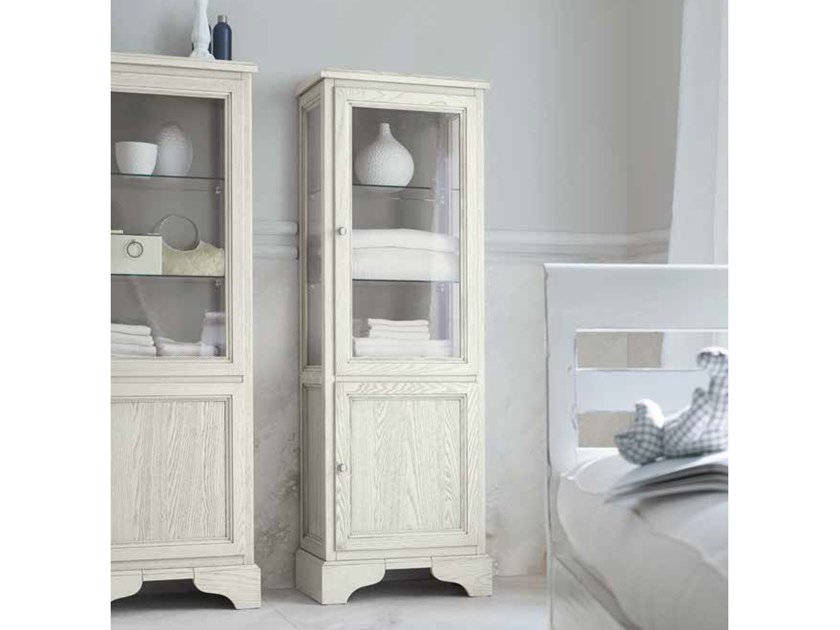 Tall wood and glass bathroom cabinet with doors PAESTUM 66 by Cerasa