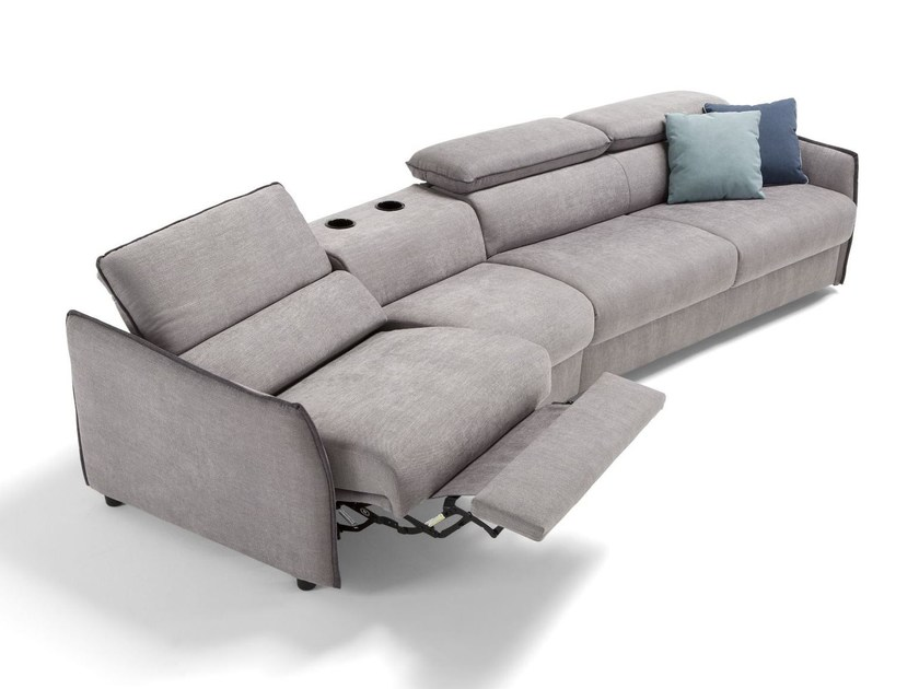 Fabric sofa bed with headrest PAGANINI | Recliner sofa by Dienne Salotti