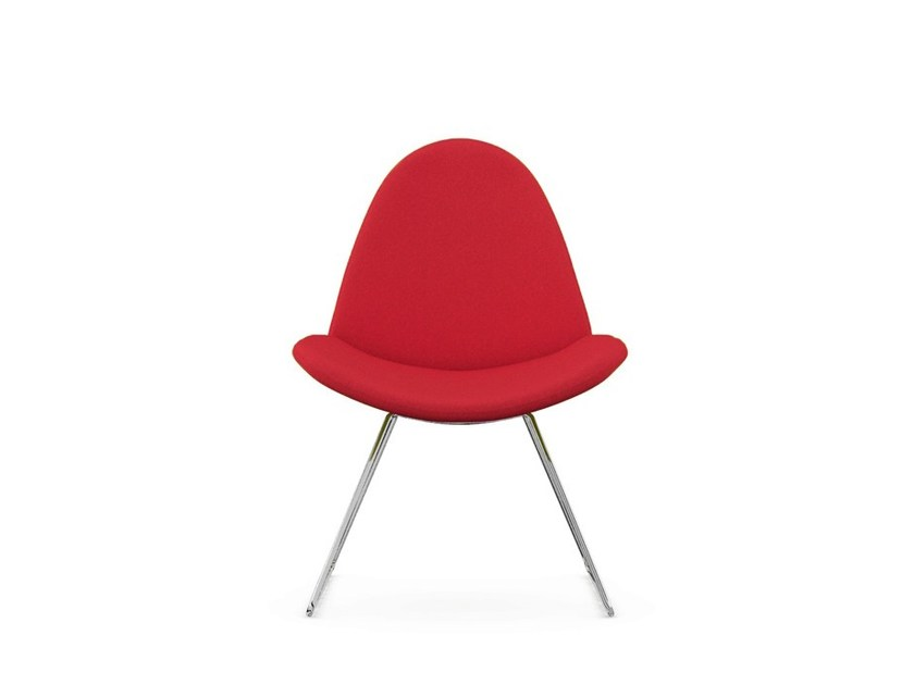 Sled base upholstered fabric chair PAGE by Boss Design