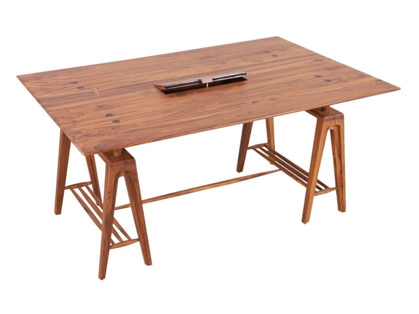 Rectangular teak office desk PALENI by ALANKARAM
