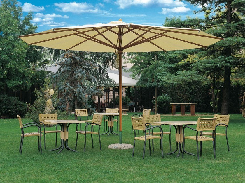 Round iroko Garden umbrella with telescopic system PALLADIO TELESCOPIC | Round Garden umbrella by Scolaro Parasol