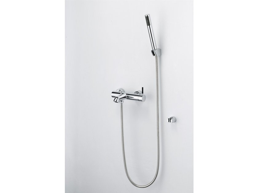 Wall-mounted single handle chromed brass bathtub mixer with hand shower PAN I | Bathtub mixer by JUSTIME