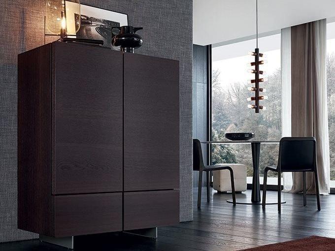 Wood veneer highboard with doors PANDORA | Highboard by poliform