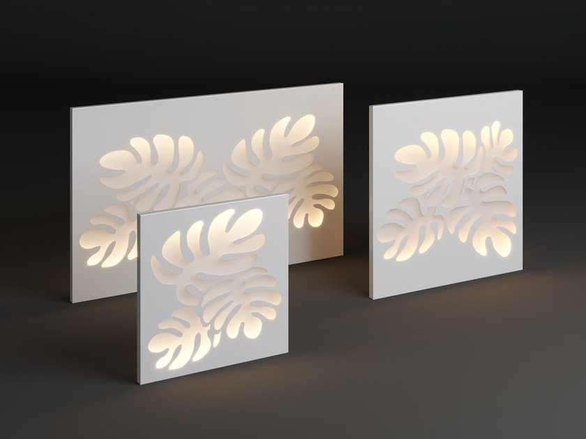 LED metal wall lamp PANEL MONSTERA by Laubo