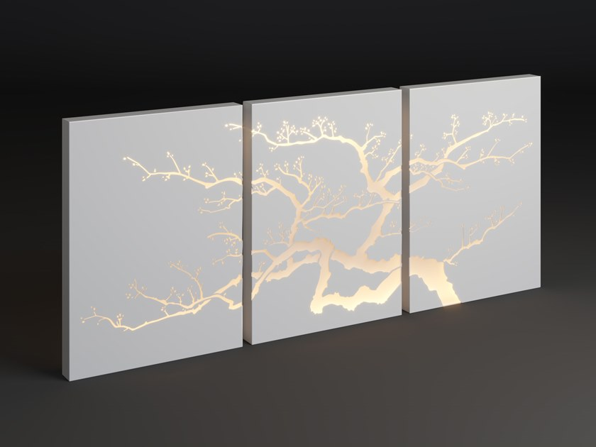 LED metal wall lamp PANEL TRIPLE TREE by Laubo