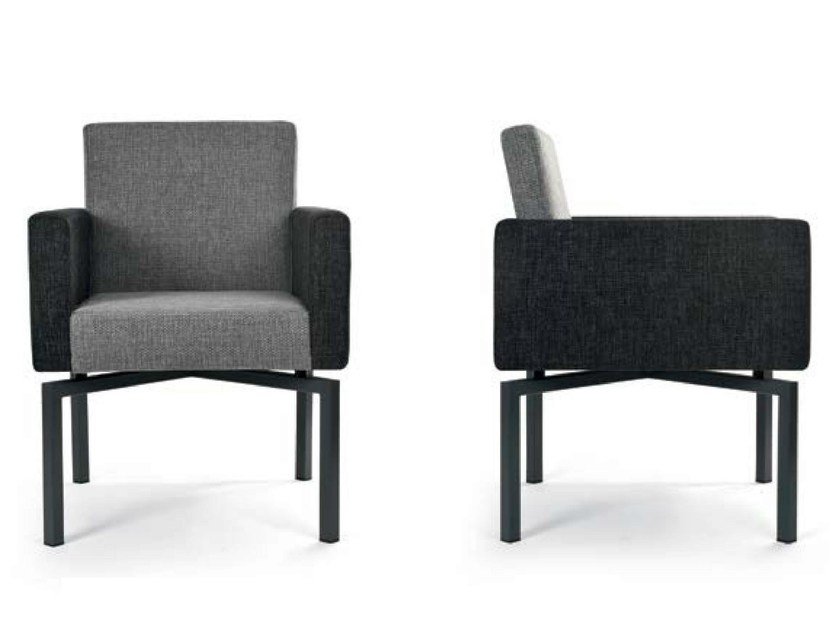 Upholstered fabric easy chair with armrests PANTA REI METAL QUATTRO by Riccardo Rivoli