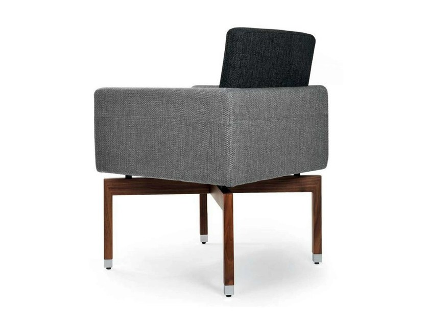 Upholstered fabric easy chair with armrests PANTA REI WOOD QUATTRO by Riccardo Rivoli