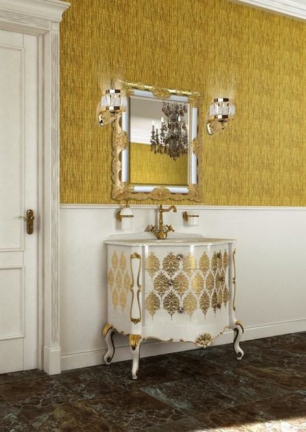 Lacquered vanity unit with drawers with mirror PANTHEON CM01PH by LA BUSSOLA