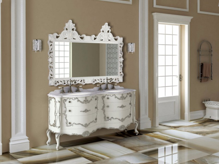 Double vanity unit with drawers with mirror PANTHEON CM02PH by LA BUSSOLA