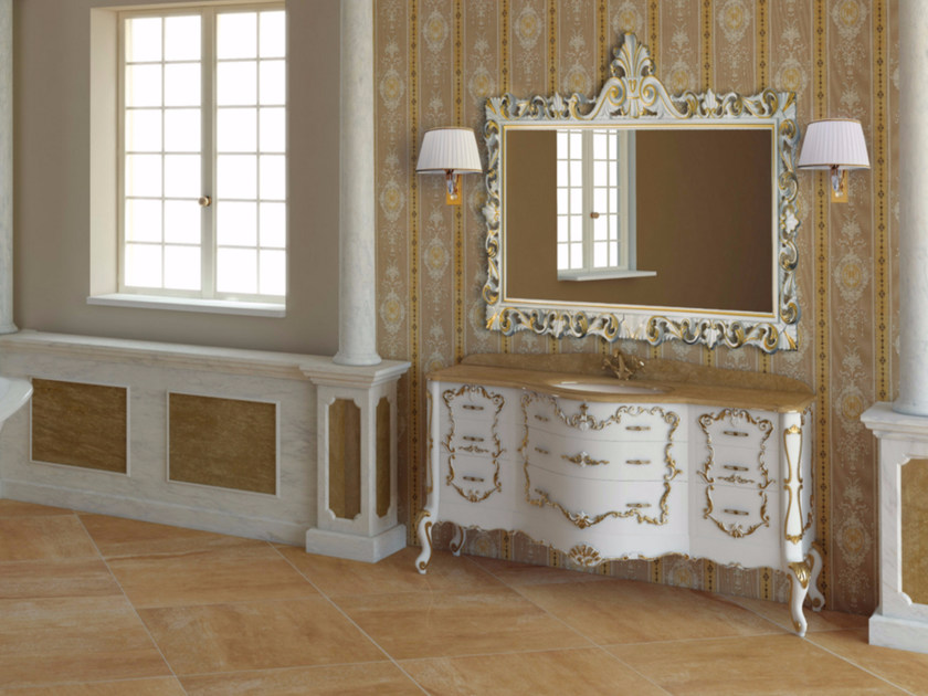 Lacquered vanity unit with drawers with mirror PANTHEON CM03PH by LA BUSSOLA