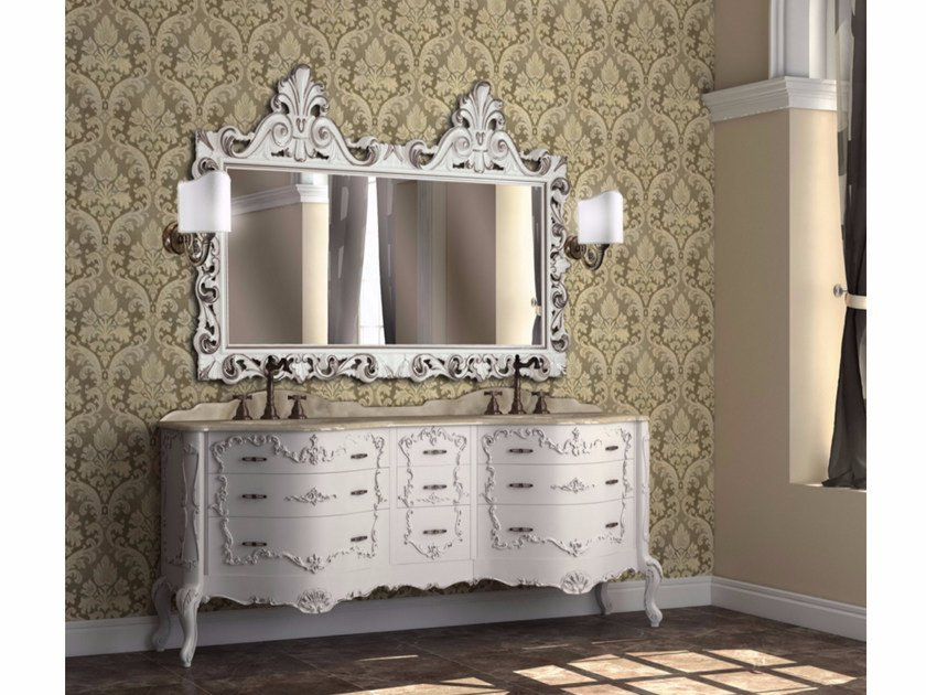 Double vanity unit with drawers with mirror PANTHEON CM07PH by LA BUSSOLA