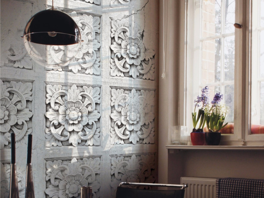 Motif stone effect wallpaper PANTHEON by Inkiostro Bianco